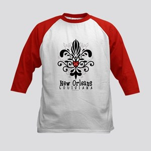 New Orleans Fleur Heart Kids Baseball Jersey