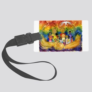 Born In His Heart Large Luggage Tag