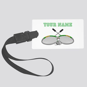 Personalized Badminton Player Crossed Racquets Lug
