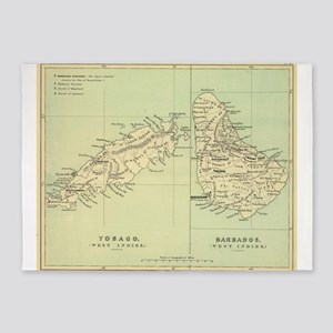 Vintage Map of Barbados and Tobago 5'x7'Area Rug
