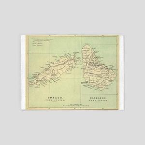 Vintage Map of Barbados and Tobago 5'x7'Area Rug