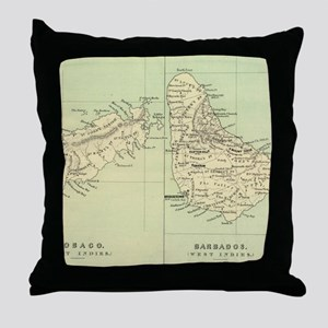 Vintage Map of Barbados and Tobago (1 Throw Pillow