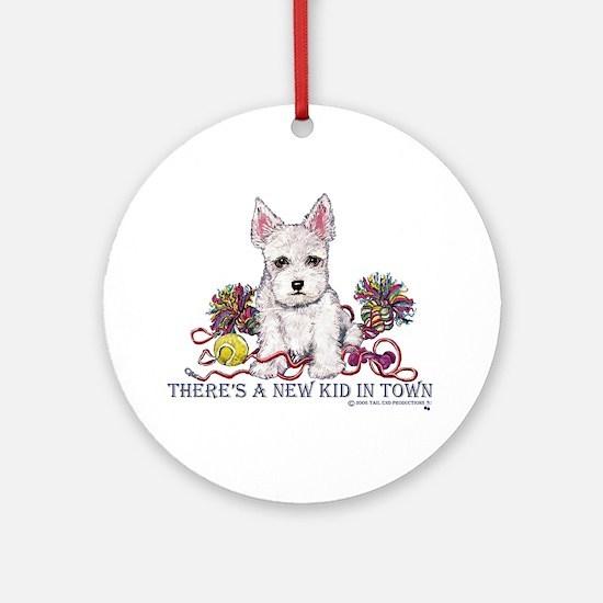 New Kid Westie Puppy Ornament (Round)