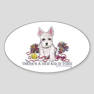 New Kid Westie Puppy Oval Sticker