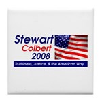 Stewart / Colbert for Preside Tile Coaster