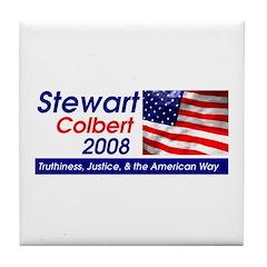 Stewart / Colbert for Preside Tile Coaster