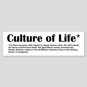 Culture of Life Bumper Sticker