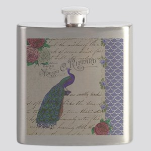 Vintage peacock collage Flask