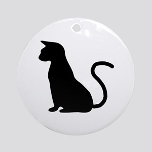 Cat Silhouette Ornament (Round)