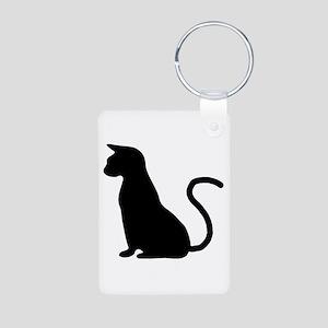 Cat Silhouette Aluminum Photo Keychain