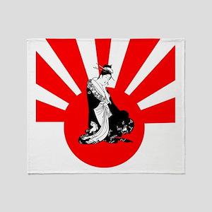 2-japanesewomansun Throw Blanket