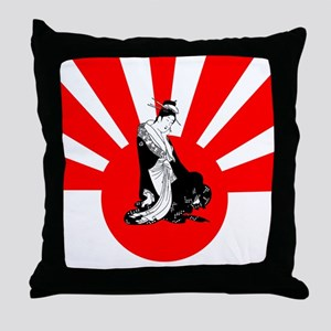 2-japanesewomansun Throw Pillow