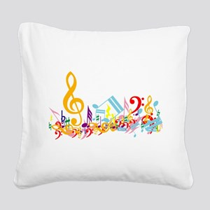 Colorful Musical Notes Square Canvas Pillow