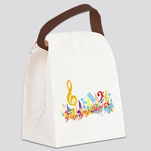 Colorful Musical Notes Canvas Lunch Bag