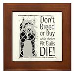 Pit Bulls: Don't Breed Framed Tile