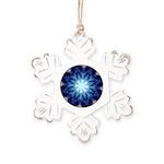 Techno-Blue Starburst Rustic Snowflake Ornament