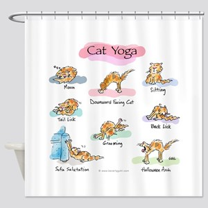 CAT YOGA POSES Shower Curtain