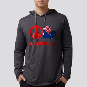 Peace Love Australia Mens Hooded Shirt