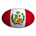 Peru flag rounded Oval Sticker