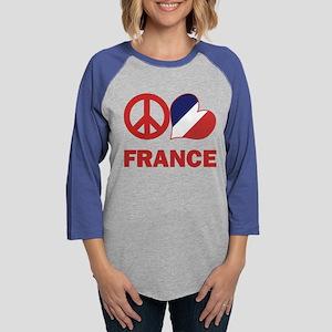 Peace Love France Womens Baseball Tee