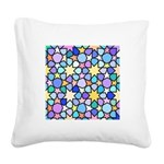 Star Stain Glass Pattern Square Canvas Pillow