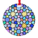 Star Stain Glass Pattern Round Ornament
