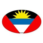 Antigua and Barbuda Flag Banner Oval Sticker