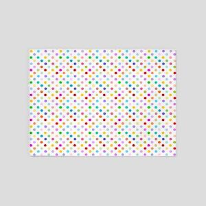 Rainbow Polka Dots 5'x7'Area Rug