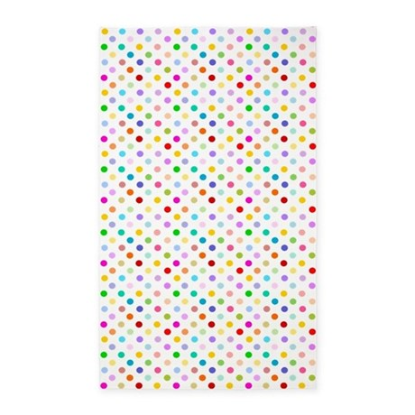 Rainbow Polka Dots 3'x5' Area Rug