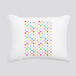 Rainbow Polka Dots Rectangular Canvas Pillow