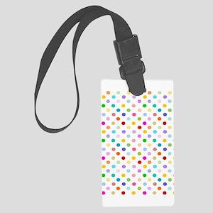 Rainbow Polka Dots Large Luggage Tag