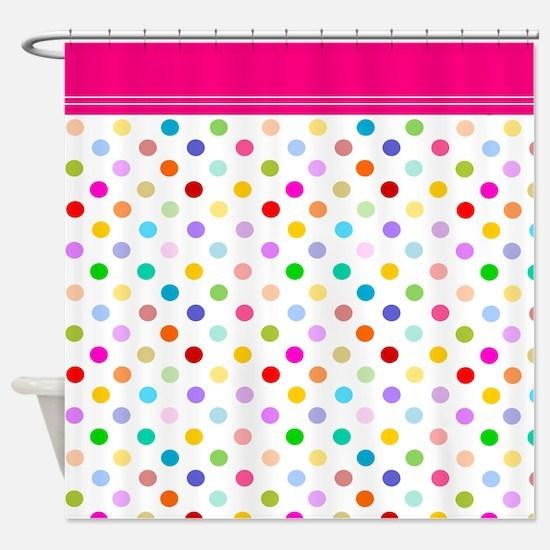 Rainbow Polka Dots Shower Curtain