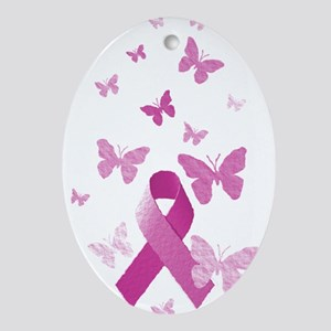 Pink Awareness Ribbon Ornament (Oval)