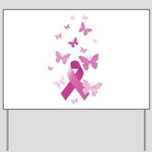 Pink Awareness Ribbon Yard Sign