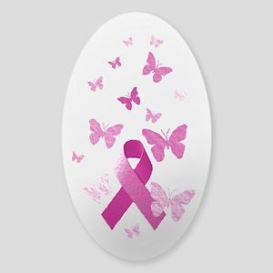 Pink Awareness Ribbon Sticker (Oval)