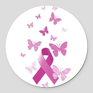 Pink Awareness Ribbon Round Car Magnet