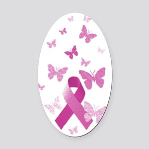 Pink Awareness Ribbon Oval Car Magnet