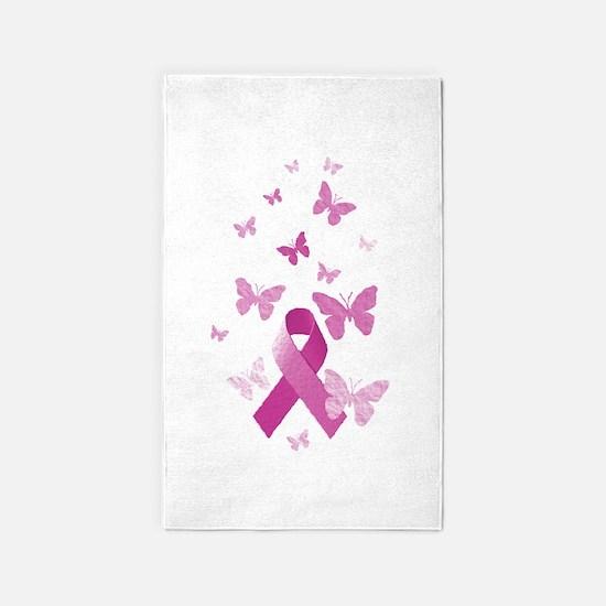 Pink Awareness Ribbon 3'x5' Area Rug