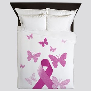 Pink Awareness Ribbon Queen Duvet