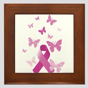 Pink Awareness Ribbon Framed Tile