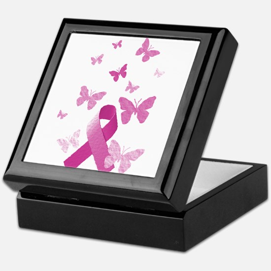 Pink Awareness Ribbon Keepsake Box