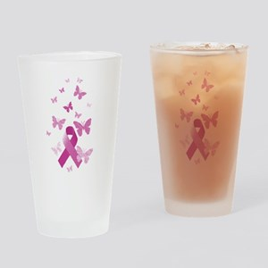Pink Awareness Ribbon Drinking Glass