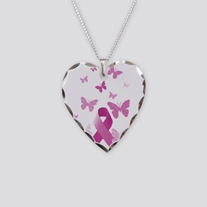 Pink Awareness Ribbon Necklace Heart Charm