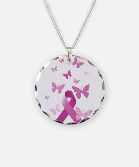 Pink Awareness Ribbon Necklace