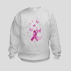 Pink Awareness Ribbon Kids Sweatshirt