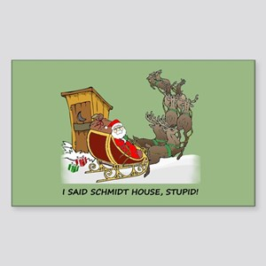 Schmidt House Cartoon Christmas Sticker (Rectangle