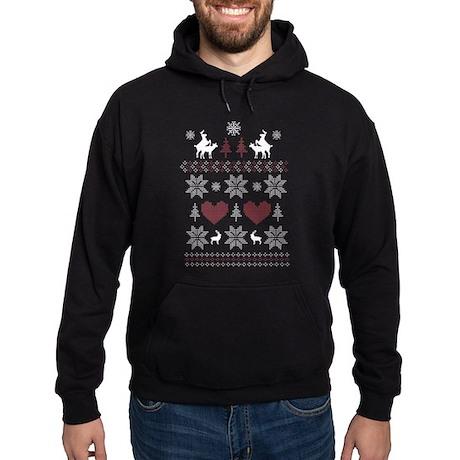 Ugly Christmas Sweater Humping Deer Hoodie (dark)