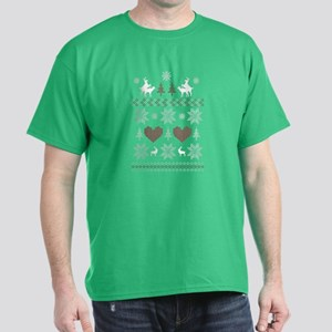 Ugly Christmas Sweater Humping Deer Dark T-Shirt