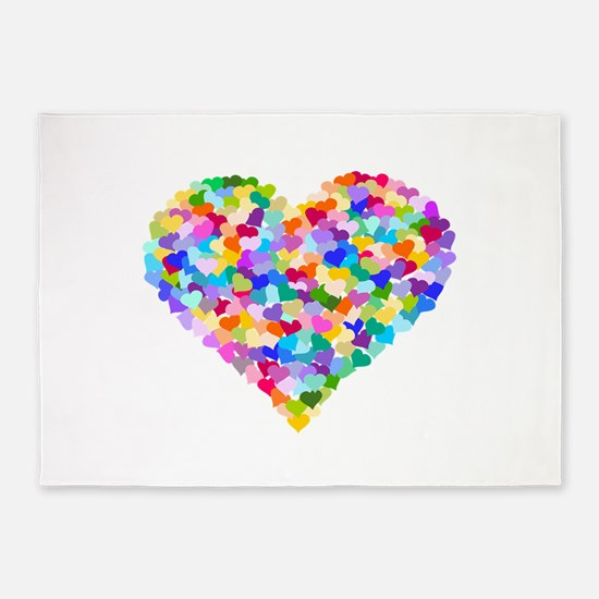 Rainbow Heart of Hearts 5'x7'Area Rug