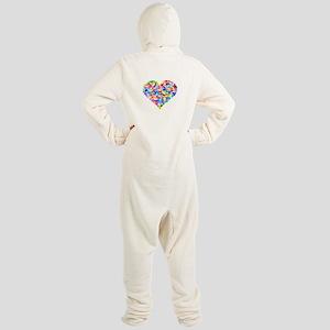 Rainbow Heart of Hearts Footed Pajamas